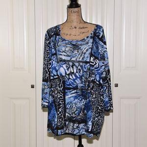 Blue & Black Patchwork Pattern Top Size 3X